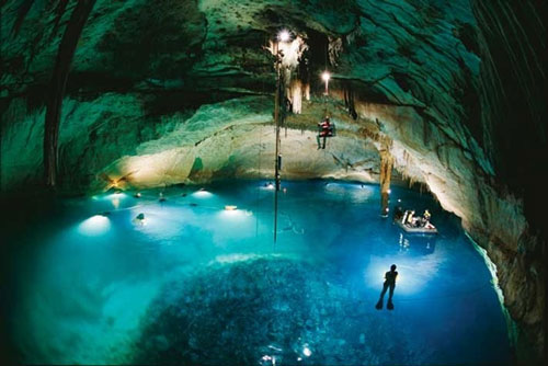flooded cave in Yucatan INAH